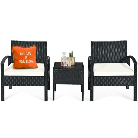 3 pcs Patio Rattan Furniture Set Sofa Cushioned Table Garden