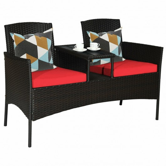 Patio Rattan Conversation Set -Red