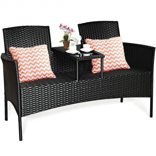 Patio Rattan Set Sofa Cushioned Loveseat Glass Table Chairs