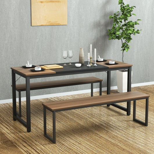 "63"" Rectangular Dining Room Table with Solid Metal Frame-Desktop + Frame"