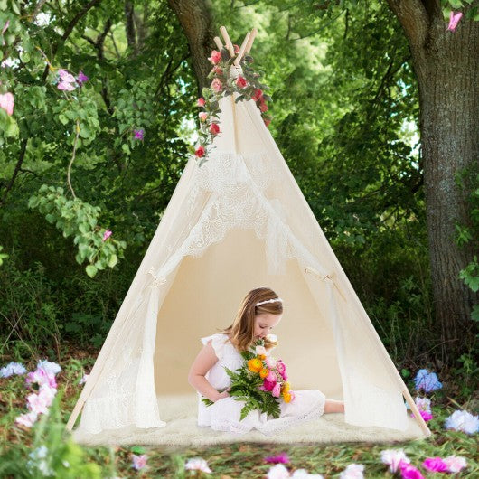 Kids Lace Teepee Tent Folding Children Playhouse W-Bag