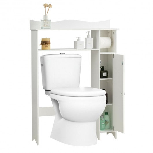 Toilet Storage Cabinet Bathroom Space Saver with Paper Holder