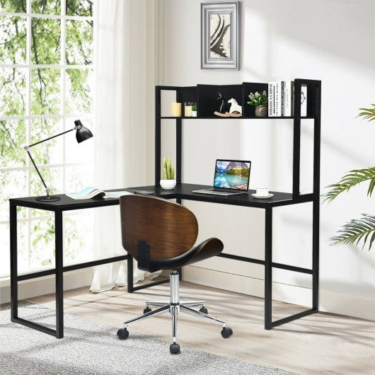"Industrial L-Shaped Desk Bookshelf 55"" Corner Computer Gaming Table-Black"