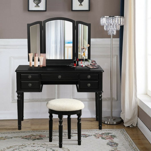 Tri-Fold Mirror Table Stool Wooden Vanity Make Up Dressing Set-Black