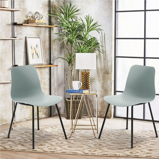 Set of 4 Dining Plastic Chair with Metal Legs Sage-Green