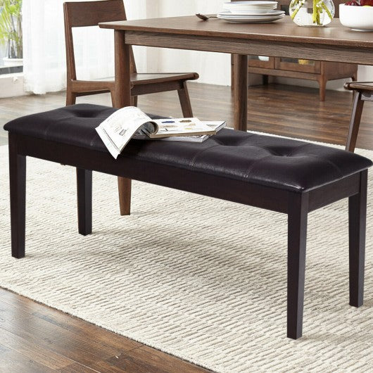 Upholstered Dining Room PU Bench Solid Wood Button Tufted-Brown