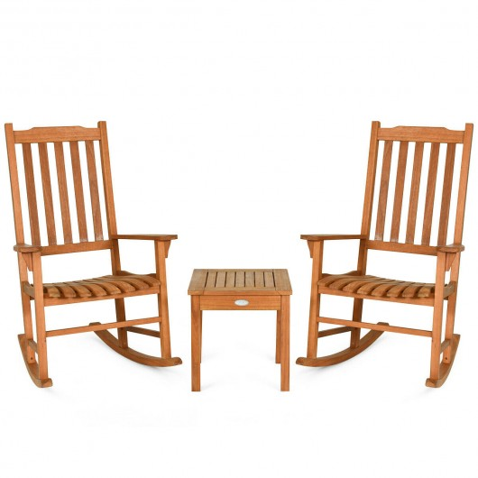 3 pcs Eucalyptus Rocking Chair Set with Coffee Table
