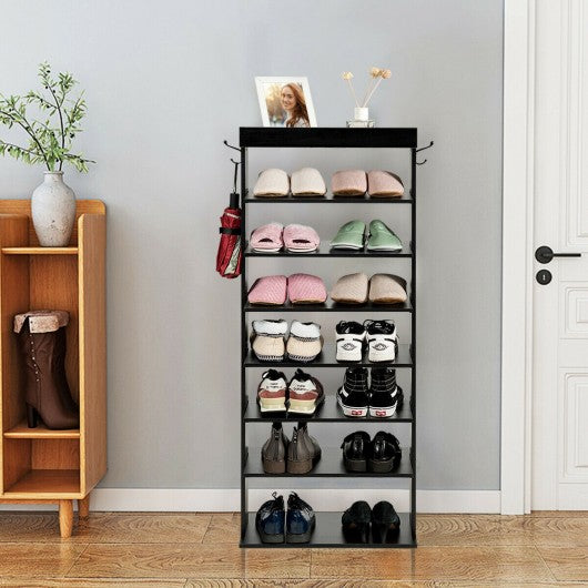 7-Tier Vertical Design Wooden Shoe Storage Shelf with Hooks-Black