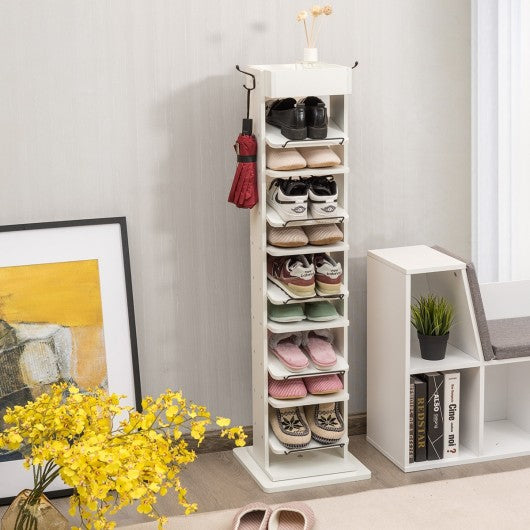 Rotated Shoe Rack 9 Tier Wooden Shoe Organizer -White