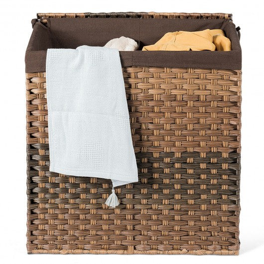 Laundry Hamper Hand-Woven Synthetic Rattan Laundry Basket-Brown