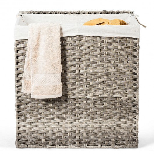 Laundry Hamper Hand-Woven Synthetic Rattan Laundry Basket-Gray