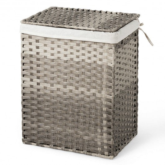 Removable Liner Bag Synthetic Rattan Basket Handwoven Laundry Hamper-Gray