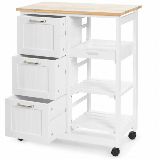 Rolling Kitchen Island Utility Storage Cart -White