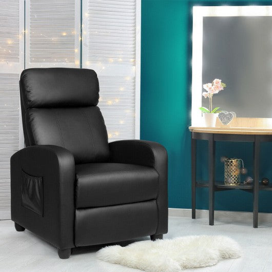 PU Leather Massage Recliner Chair with Footrest-Black