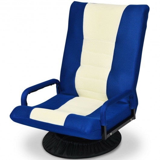 6-Position Adjustable Swivel Folding Gaming Floor Chair-Blue
