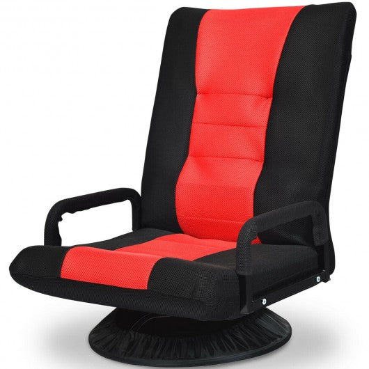 6-Position Adjustable Swivel Folding Gaming Floor Chair-Red