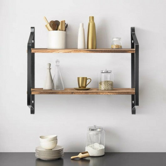 Wooden Wall-Mounted 2-Tier Floating Shelves