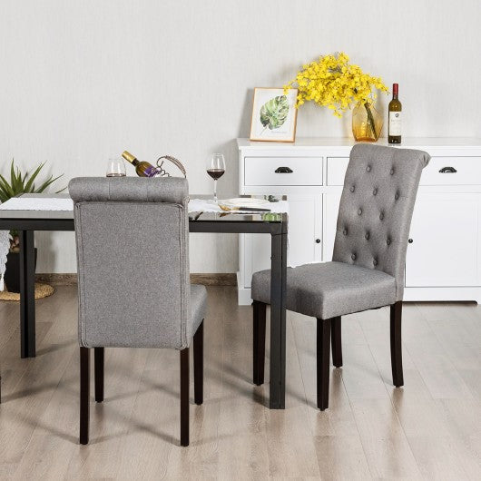 Set of 2 Tufted Dining Chair -Gray