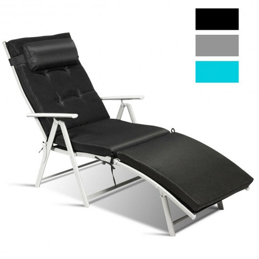 Outdoor Lightweight Folding Chaise Lounge Chair-Black