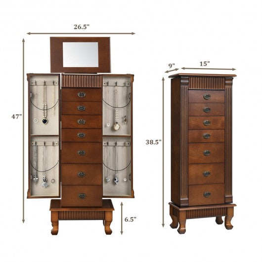 Wooden Jewelry Cabinet Storage Organizer with 7 Drawers