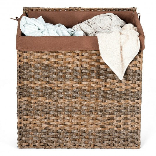 Hand-woven Foldable Rattan Laundry Basket-Brown
