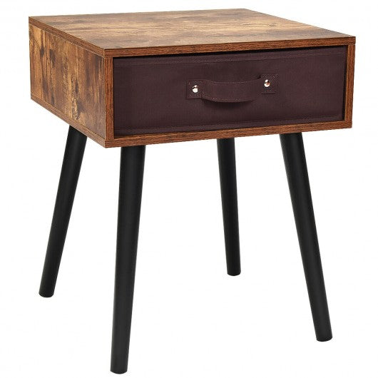 Mid-Century End Accent Bedside Table-Brown
