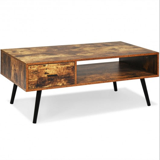 Mid Century Modern Living Room Retro Coffee Table-Brown