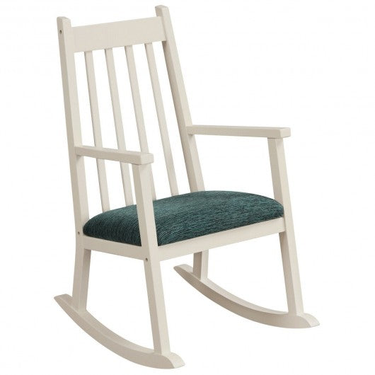 Children's Wooden Rocking Chair with Cushion-White