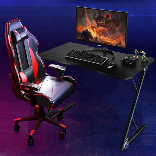 Z Shape Gaming Desk w- LED Lights