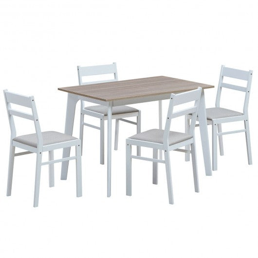 5 Piece Dining Set Table & 4 Chairs Wood Furniture Set