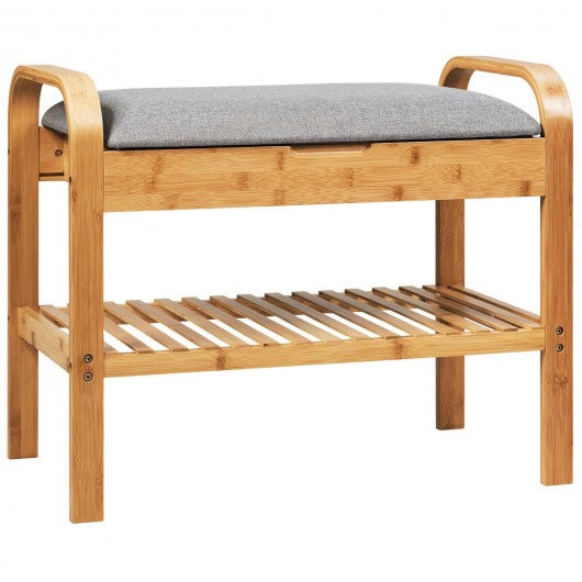 Shoe Rack Bench Bamboo with Storage Shelf -Natural
