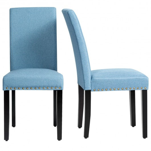 Set of 2 Fabric Upholstered Dining Chairs with Nailhead-Blue