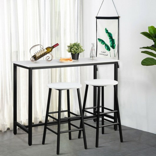 3 Piece Pub Table and Stools Kitchen Dining Set-Black & White