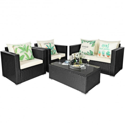 4Pcs Patio Rattan Cushioned Furniture Set-White