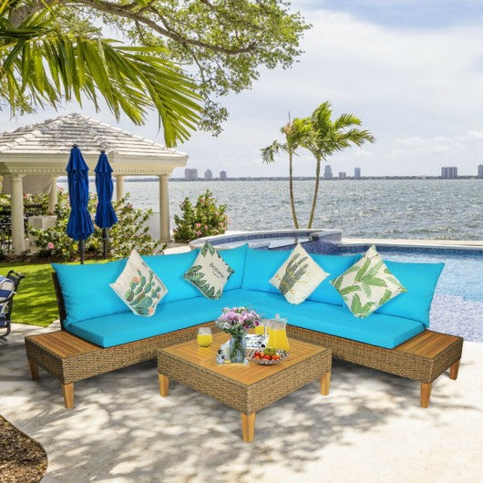 4PCS Patio Rattan Furniture Set with Wooden Side Table-Turquoise