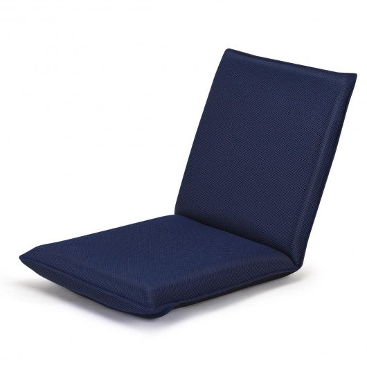 Adjustable 6-position Floor Chair Folding Lazy Man Sofa Chair-Navy