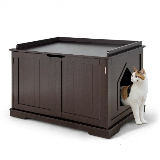 Cat Litter Box Wooden Enclosure Pet House Sidetable Washroom-Brown