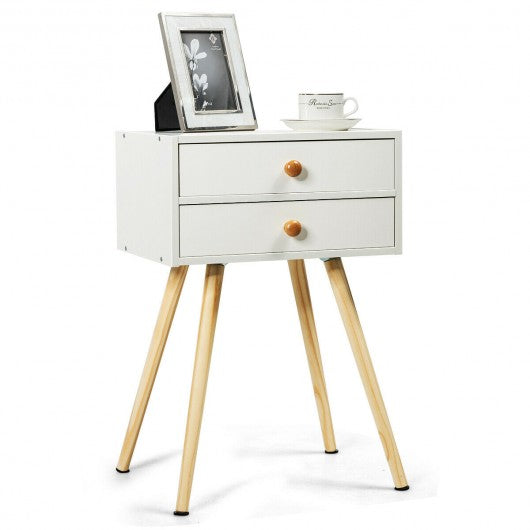 Mid Century Modern 2 Drawers Nightstand in Natural-White
