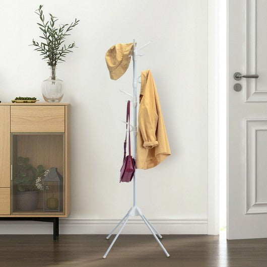 Stand Hat Coat Metal Rack with Folding Base-White