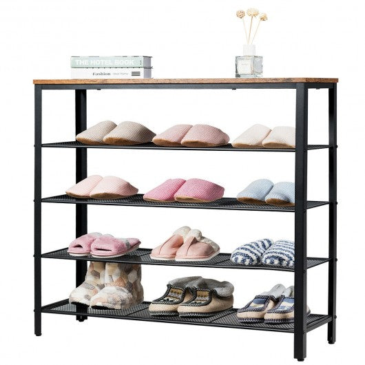 5-Tier Shoe Storage Organizer with 4 Metal Mesh Shelves