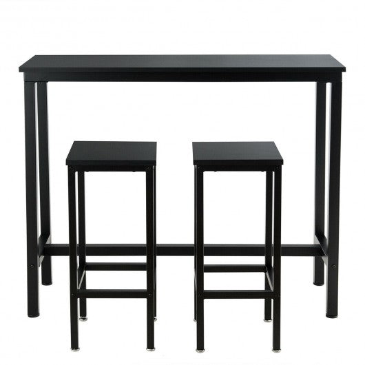 3 Pieces Bar Table Counter Breakfast Bar Dining Table with Stools-Black
