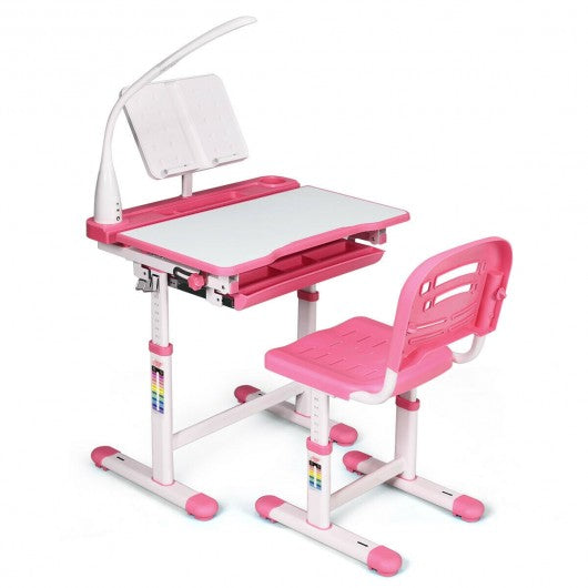 Adjustable Kids Desk Chair Set with Lamp and Bookstand-Pink