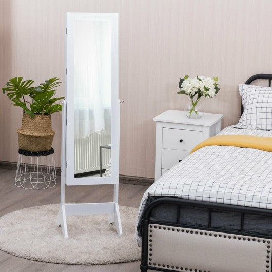 LEDs Lockable Jewelry Cabinet with Full-Length Mirror-White