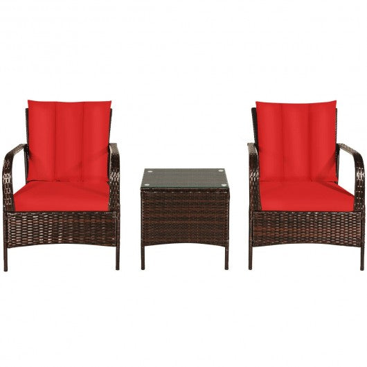 3 PCS Patio Rattan Furniture Set-Red