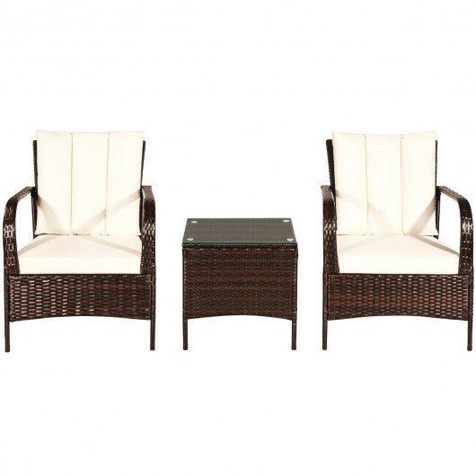 3 PCS Patio Rattan Furniture Set-White