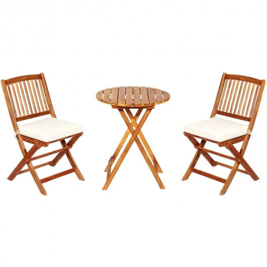 3PCS Patio Folding Wooden Bistro Set Cushioned Chair -White