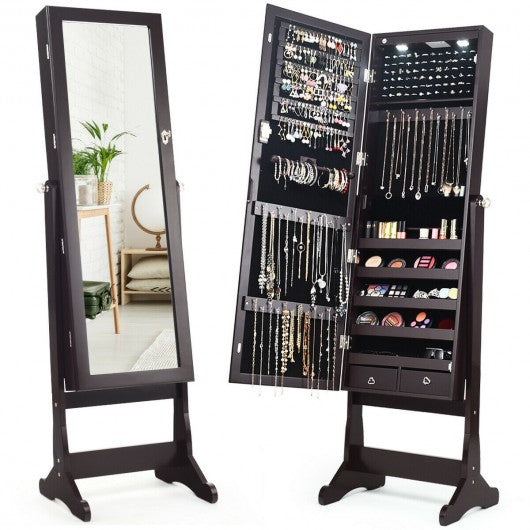 Lockable Mirrored Jewelry Cabinet with Stand and Led Lights-Brown