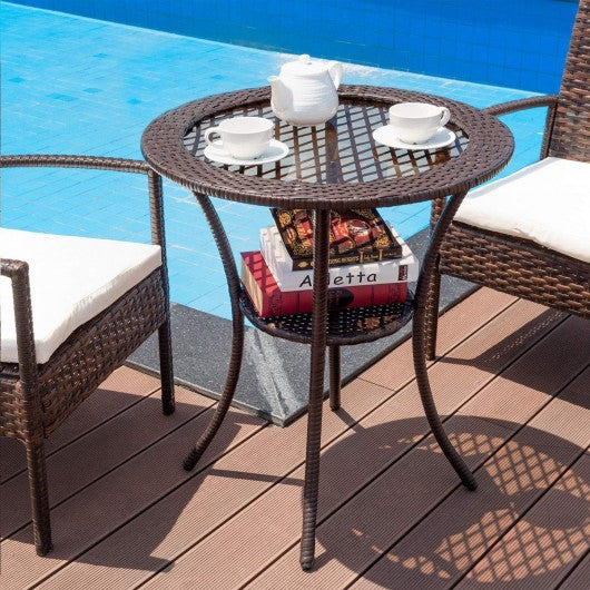 Round Rattan Wicker Coffee Table with Lower Shelf