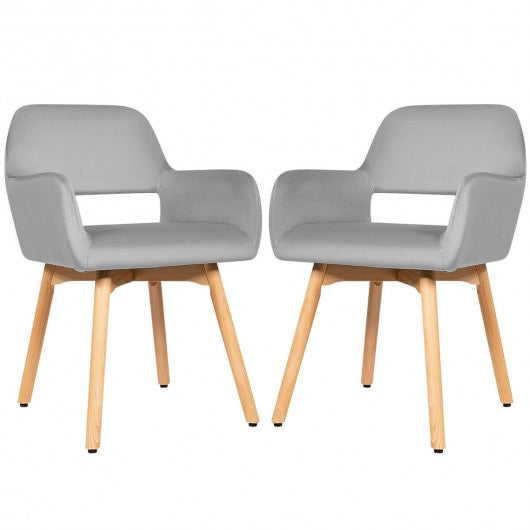 Set of 2 Modern Accent Armchairs-Gray