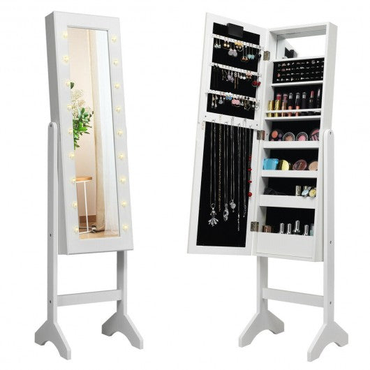 Mirrored Jewelry Cabinet Armoire Organizer w- LED lights-White